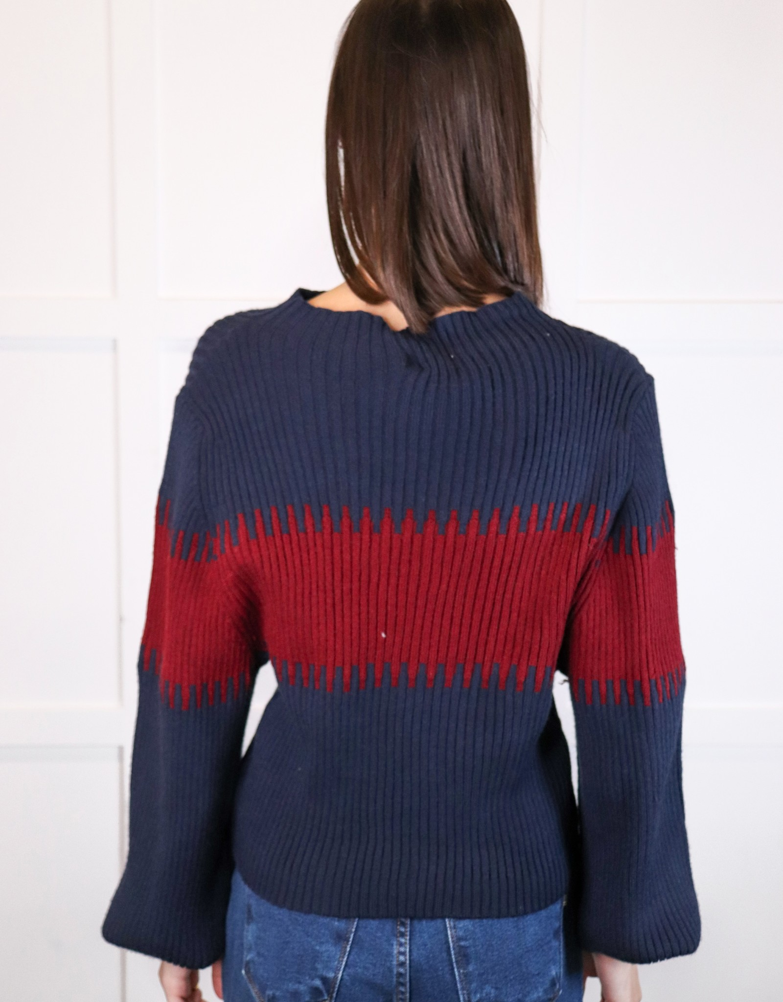 HUSH Colour block mock neck sweater
