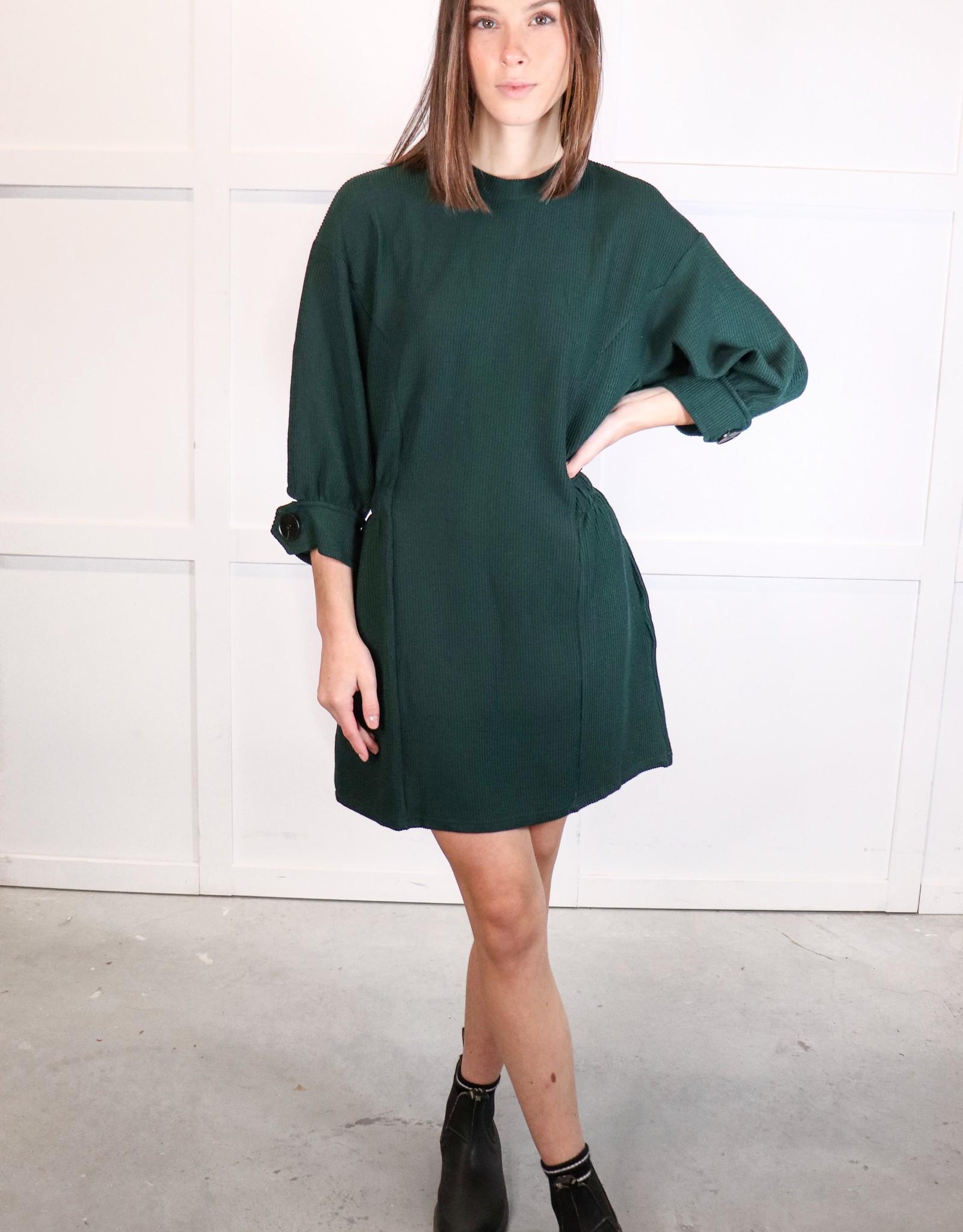 HUSH Elbow slv textured dress