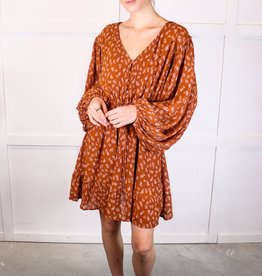 HUSH Floral print tie waist l/s dress