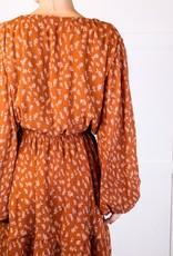 HUSH Floral print tie waist l/s dress