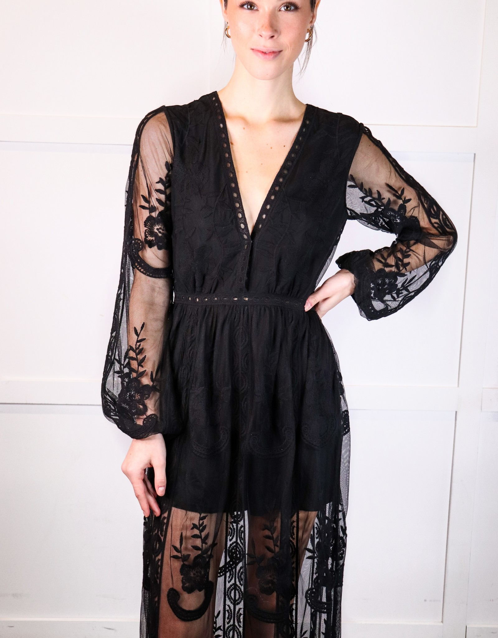 HUSH Long sleeve lace boho maxi romper