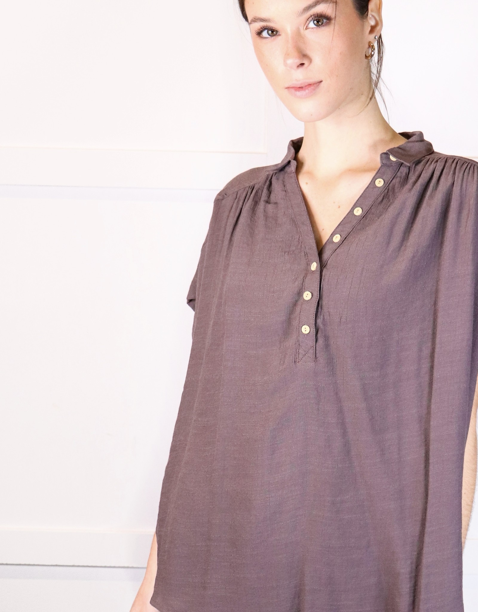 HUSH Relaxed fit v neck button down