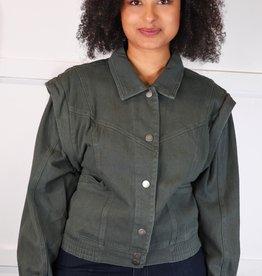 HUSH Coloured denim detailed shoulder jacket