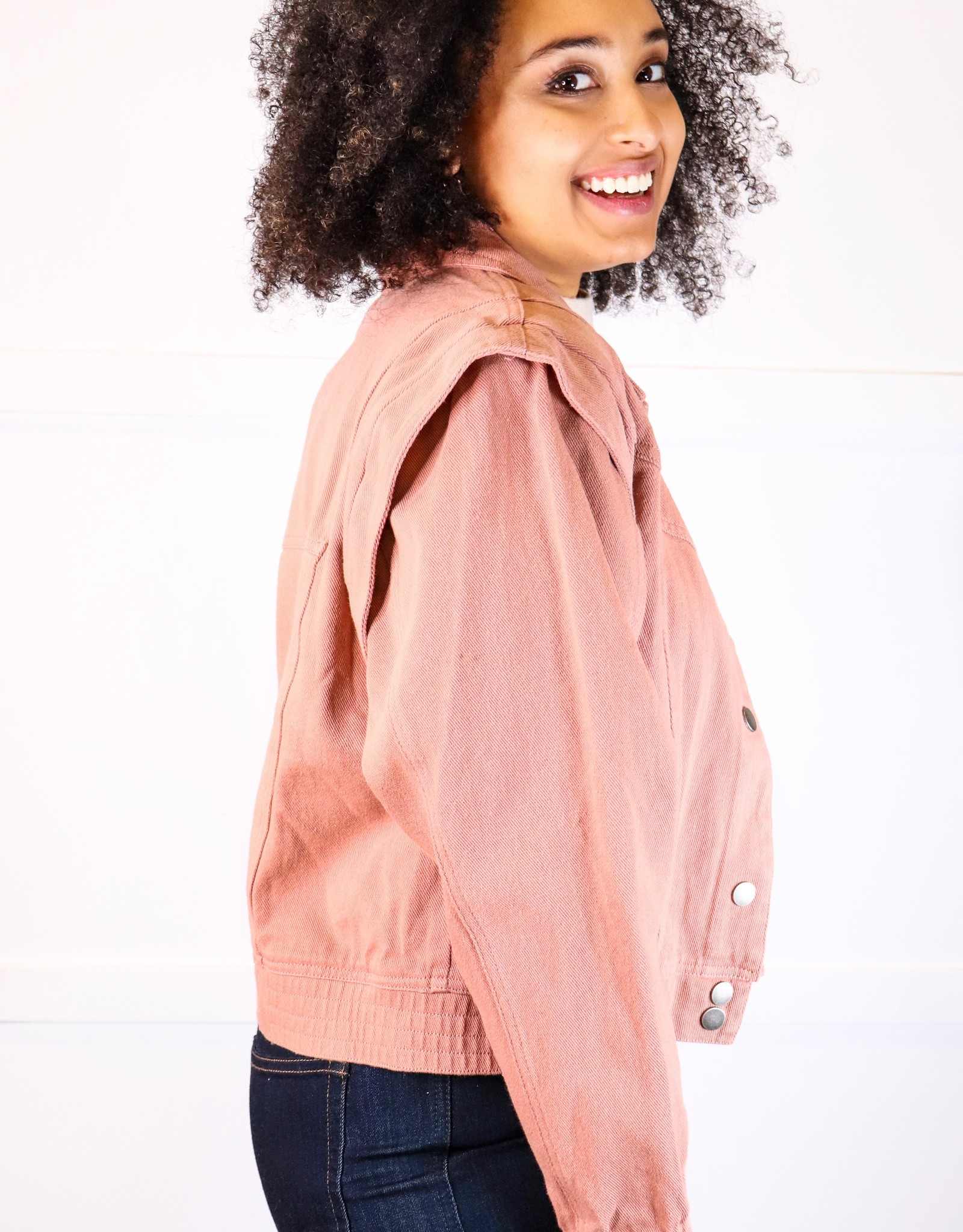 HUSH Coloured denim detailed shoulder jacket