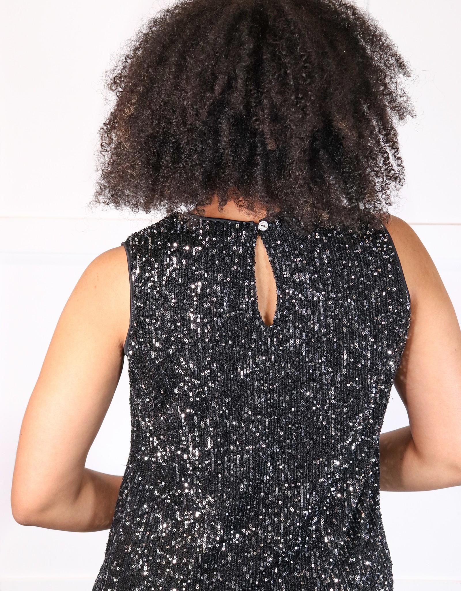 HUSH Sleeveless sequin shift dress