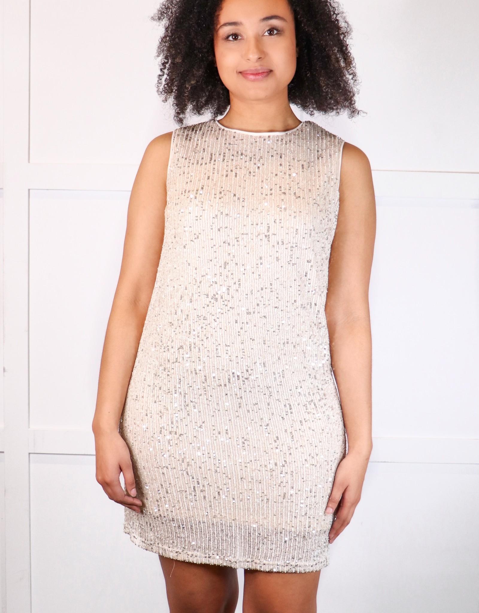 HUSH Sleeveless sequin shift dress