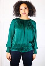 HUSH Smocked l/s satin blouse