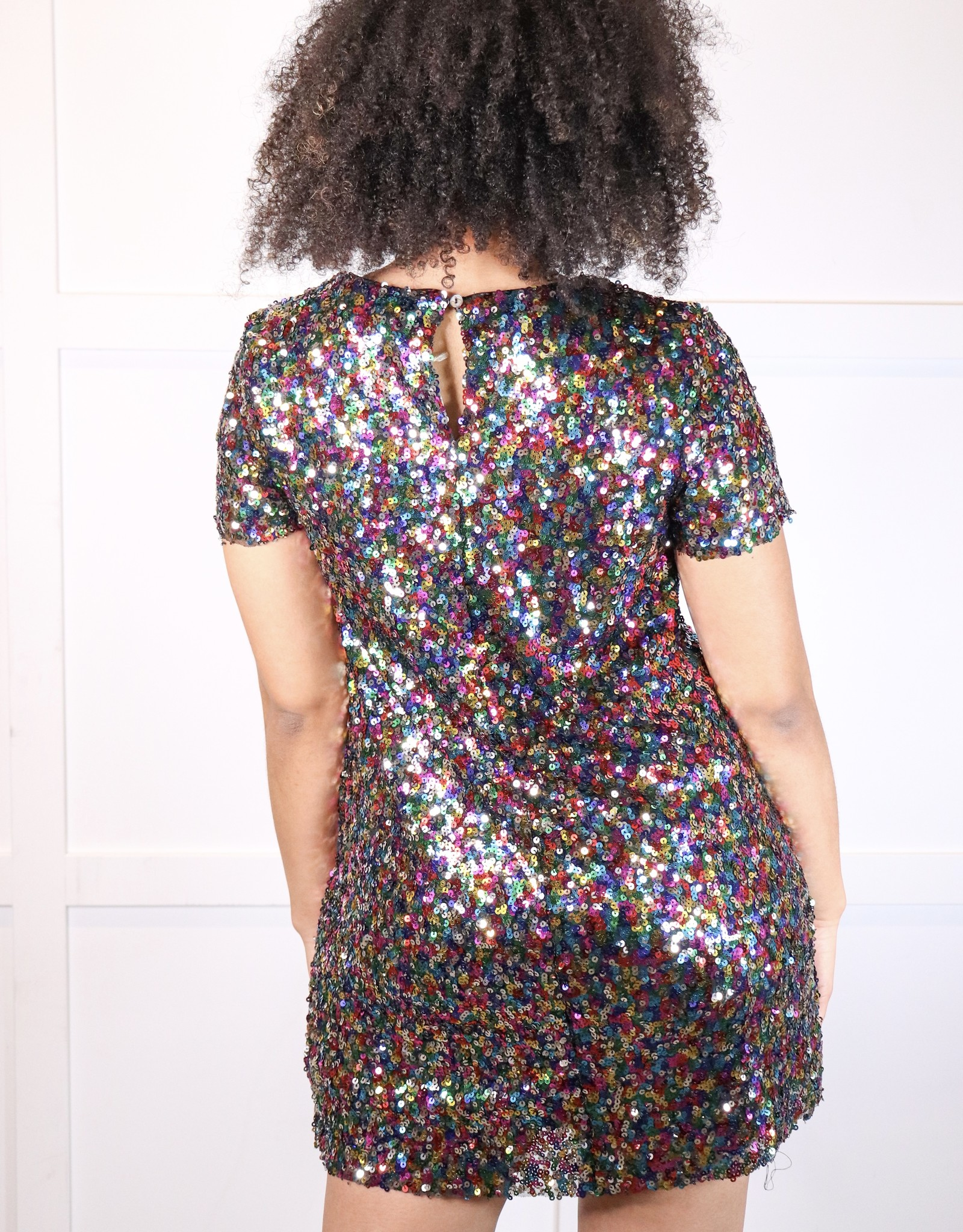 HUSH Half sleeve sequin mini dress
