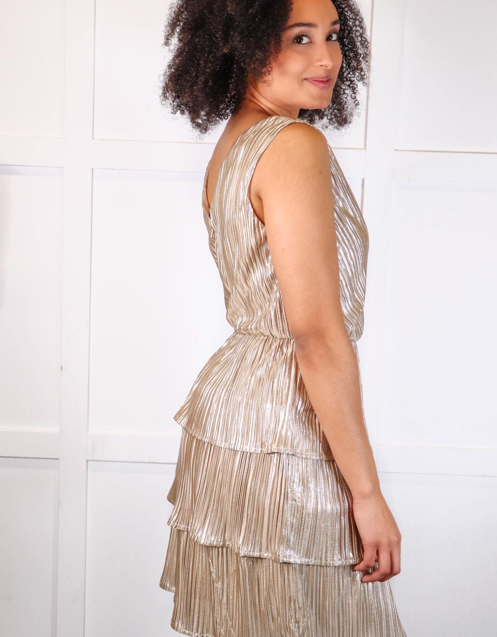 HUSH Sleeveless pleated lurex tiered skirt dress