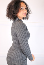 HUSH L/S ribbed knit crop sweater