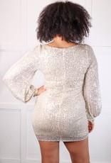 HUSH L/S square neck sequin mini dress