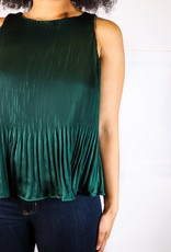 HUSH Sleevless woven pleated satin top