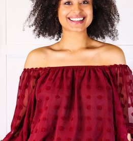 HUSH Off the shoulder pom pom crop blouse