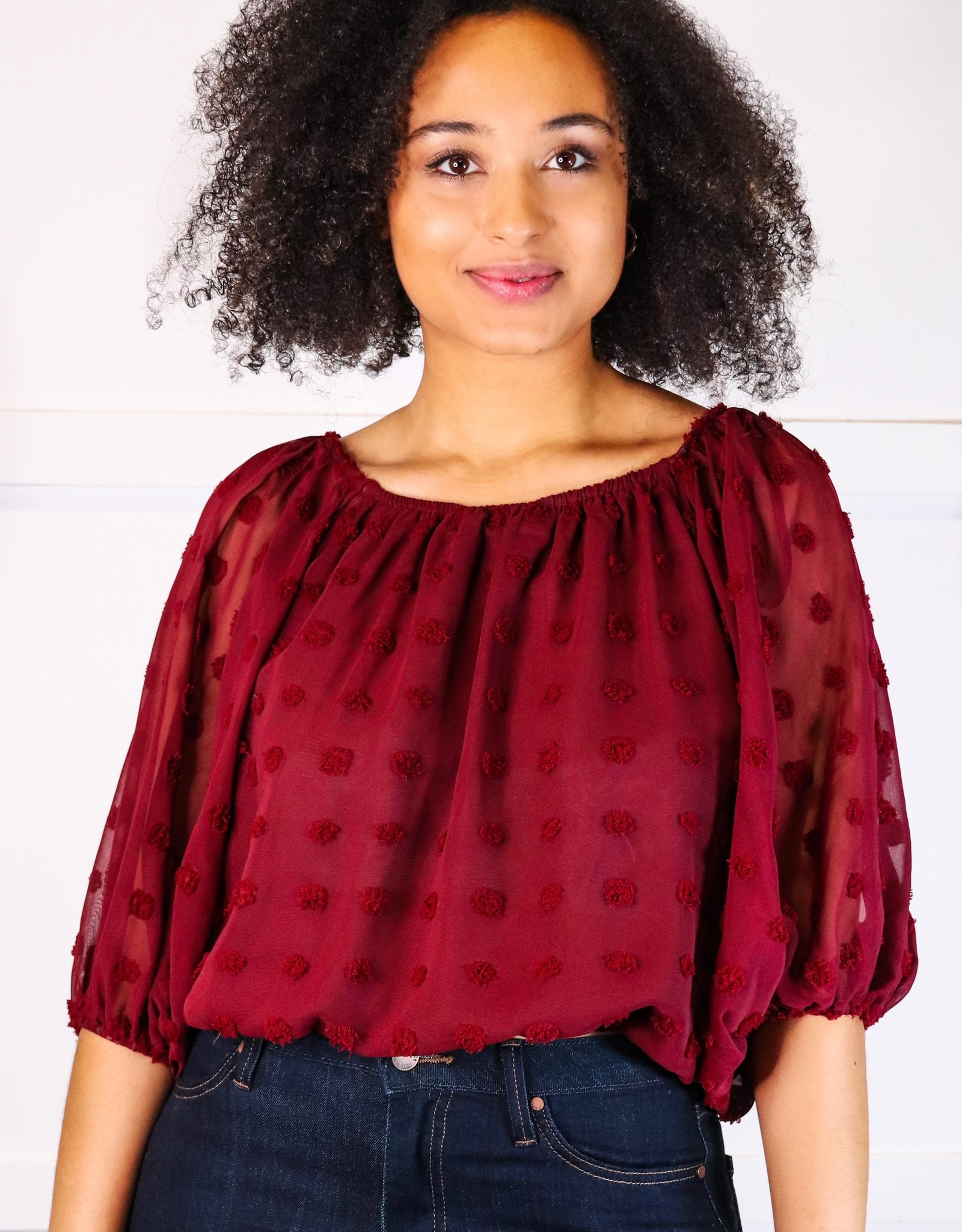 HUSH Off the shoulder pom pom crop blouse