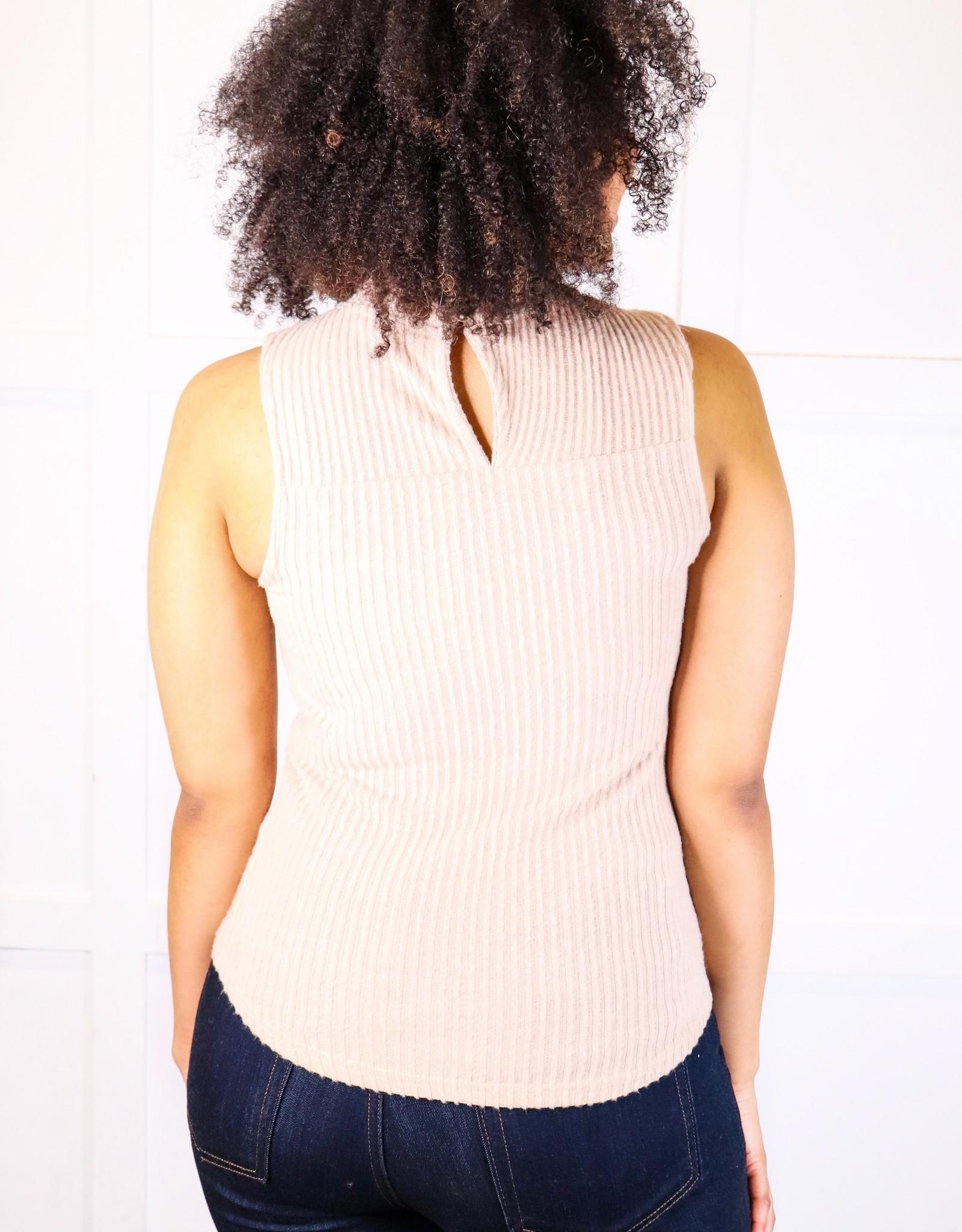 HUSH Slvless mock neck rib knit top