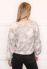 HUSH L/S soft tie dye cropped sweater