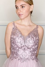 HUSH Glitter bowl gown w/ embroidery