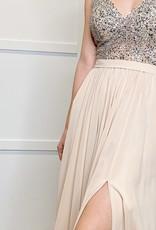 HUSH Sheer beaded bodice & chiffon gown