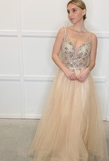 HUSH Beaded sheer bodice and tulle gown