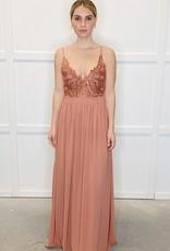 HUSH Lace bodice w/ chiffon bottom maxi dress