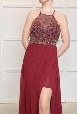 HUSH Chiffon and beaded bodice maxi dress
