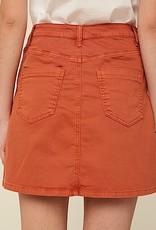 HUSH Garment washed high rise denim skirt