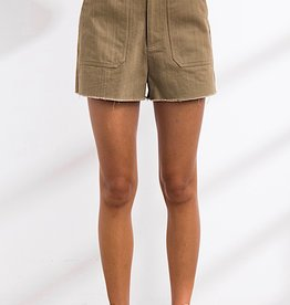 HUSH High waisted denim shorts raw edge