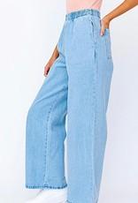 HUSH Elastic waist wide leg denim pant