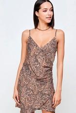 HUSH Rust animal orint wrap dress