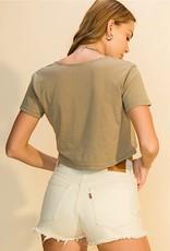 HUSH Vneck short sleeve button down