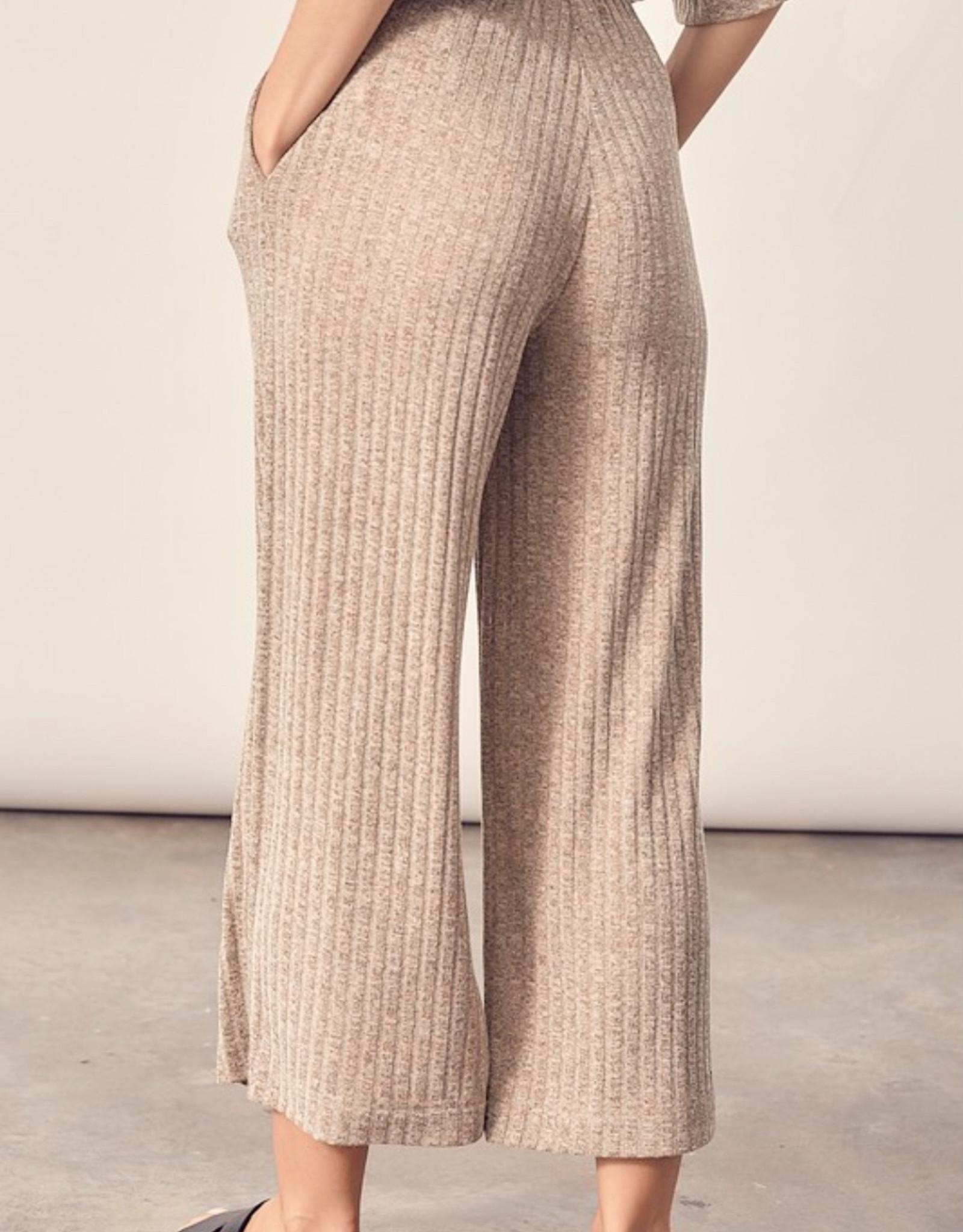 HUSH Ribbed knit straight leg crop pants