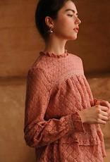 HUSH Crochet lace ruffle mock neck blouse
