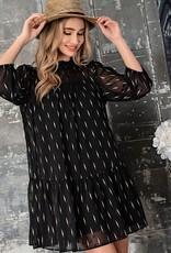 HUSH Chiffon print 3/4 sleeve dress w/ ruffle btm