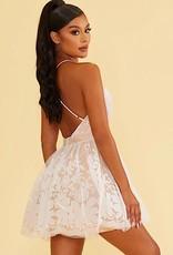 HUSH Deep v flock floral A line knee length dress