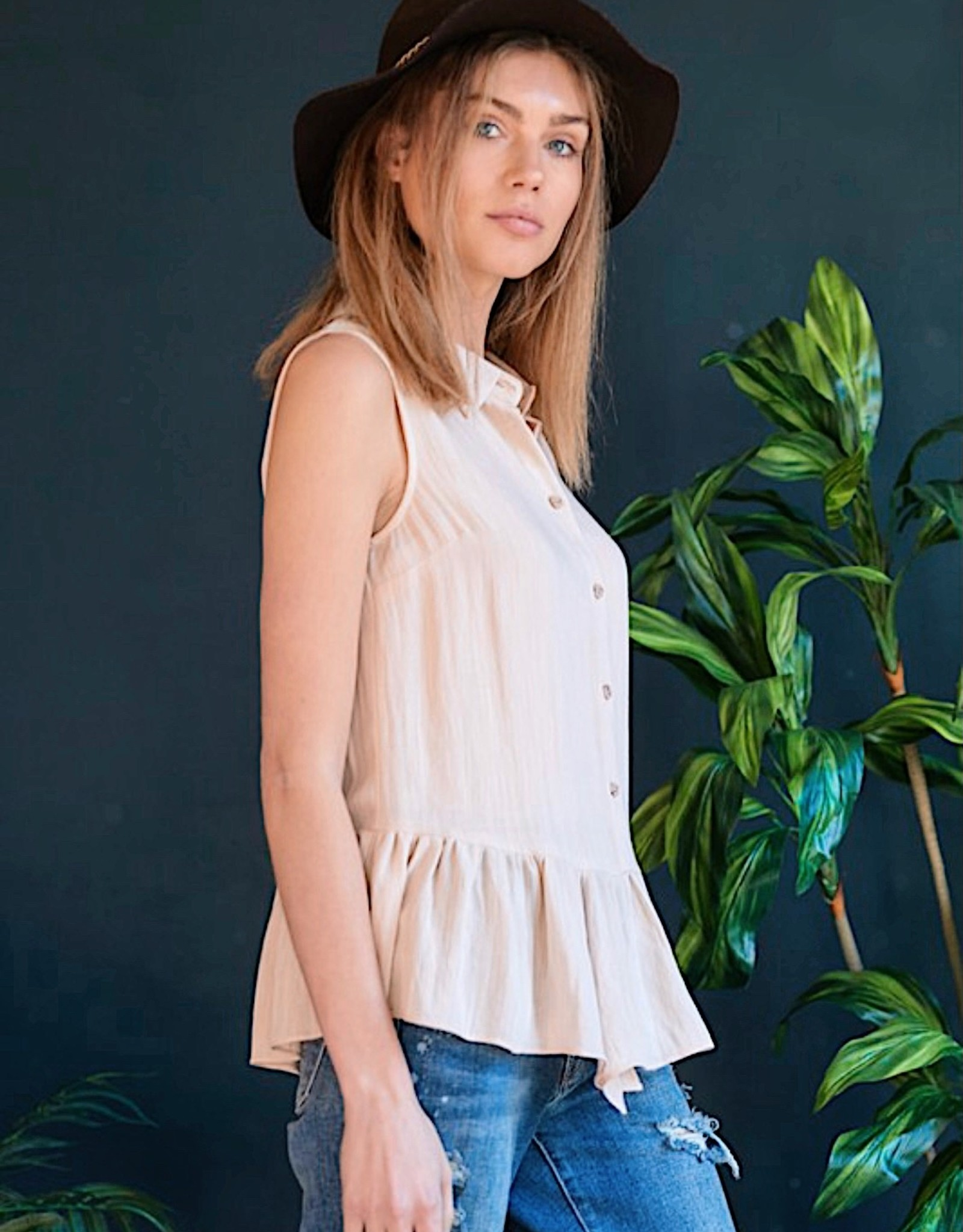 HUSH Solid peplum button down s/l blouse