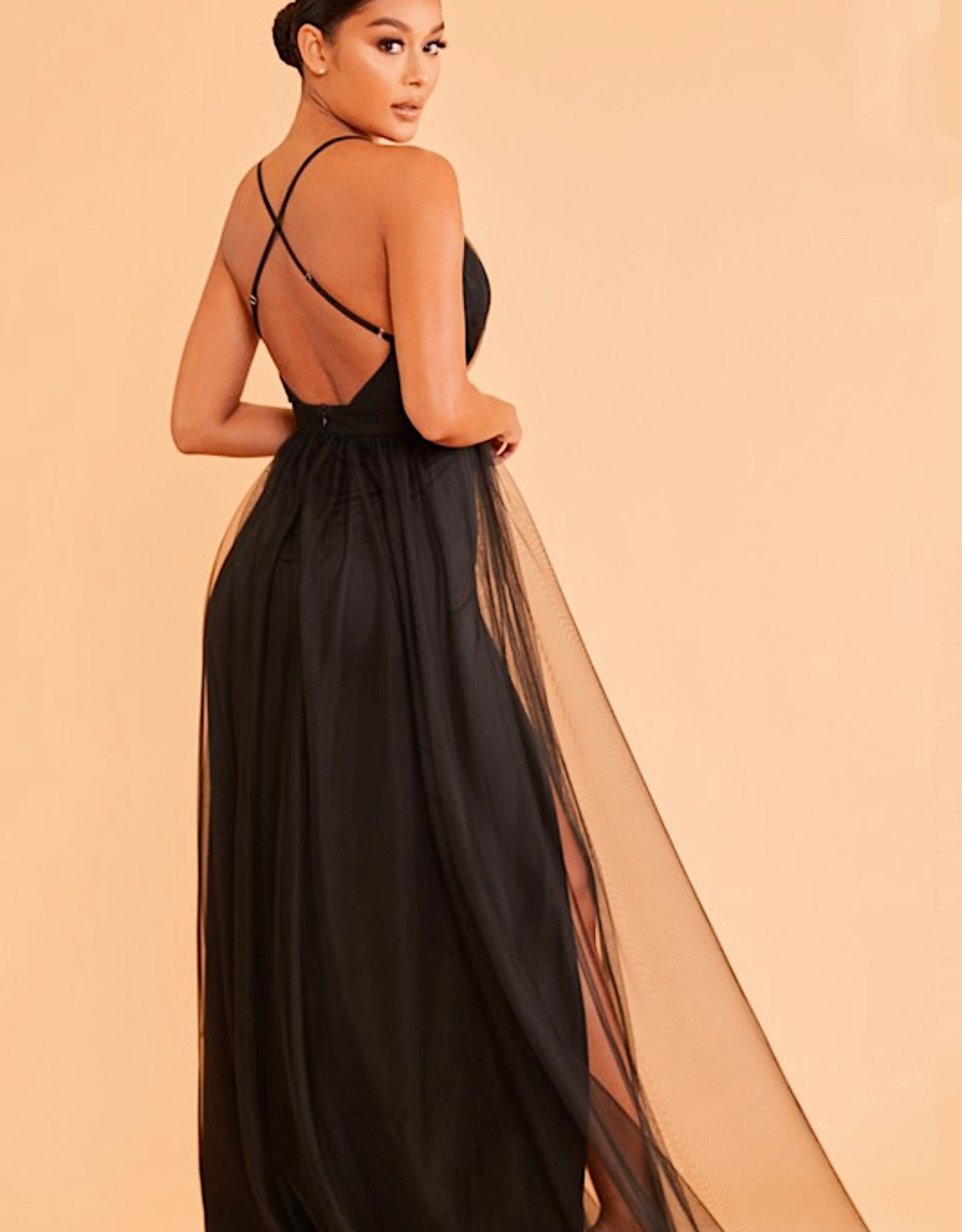 HUSH Solid tulle maxi dress