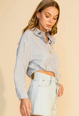 HUSH Stripe collared button down string
