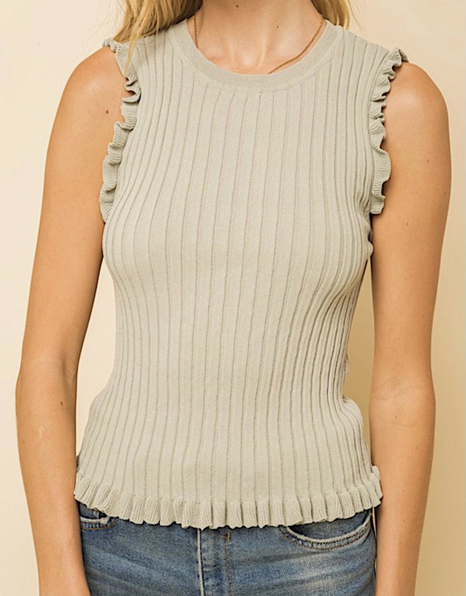 HUSH Sleeveless frill trim knit tank