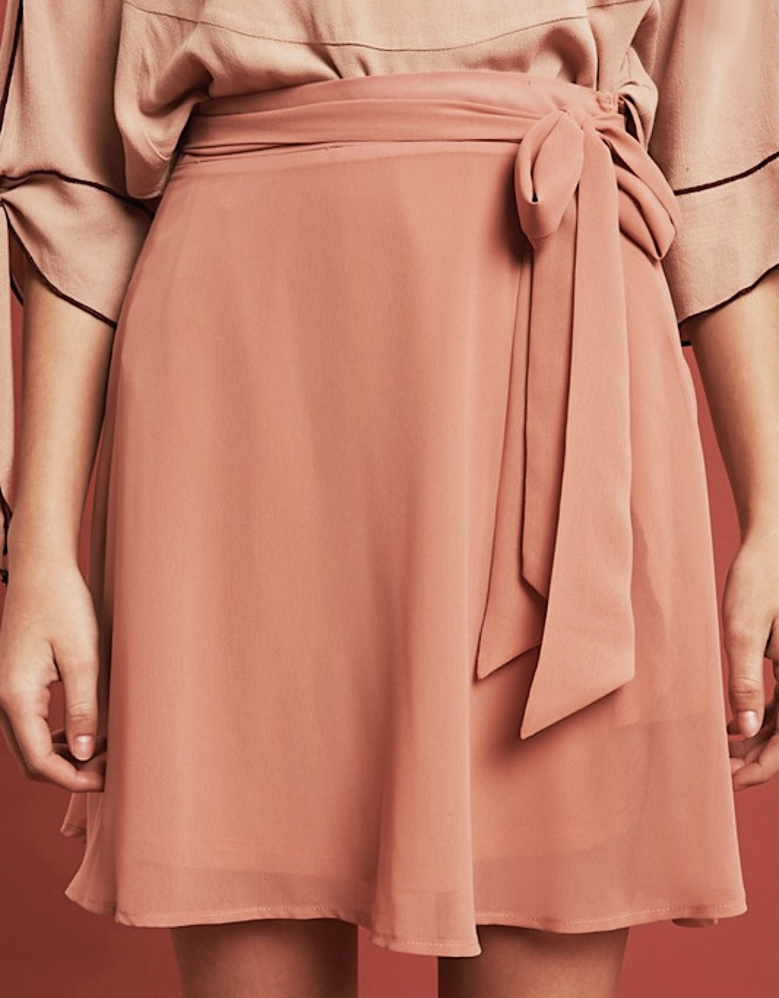 HUSH Chiffon flare skirt w/ sash