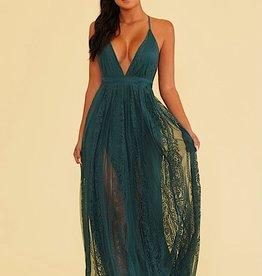 HUSH Scallop edge lace maxi dress