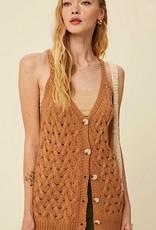 HUSH Cable knit button down vest