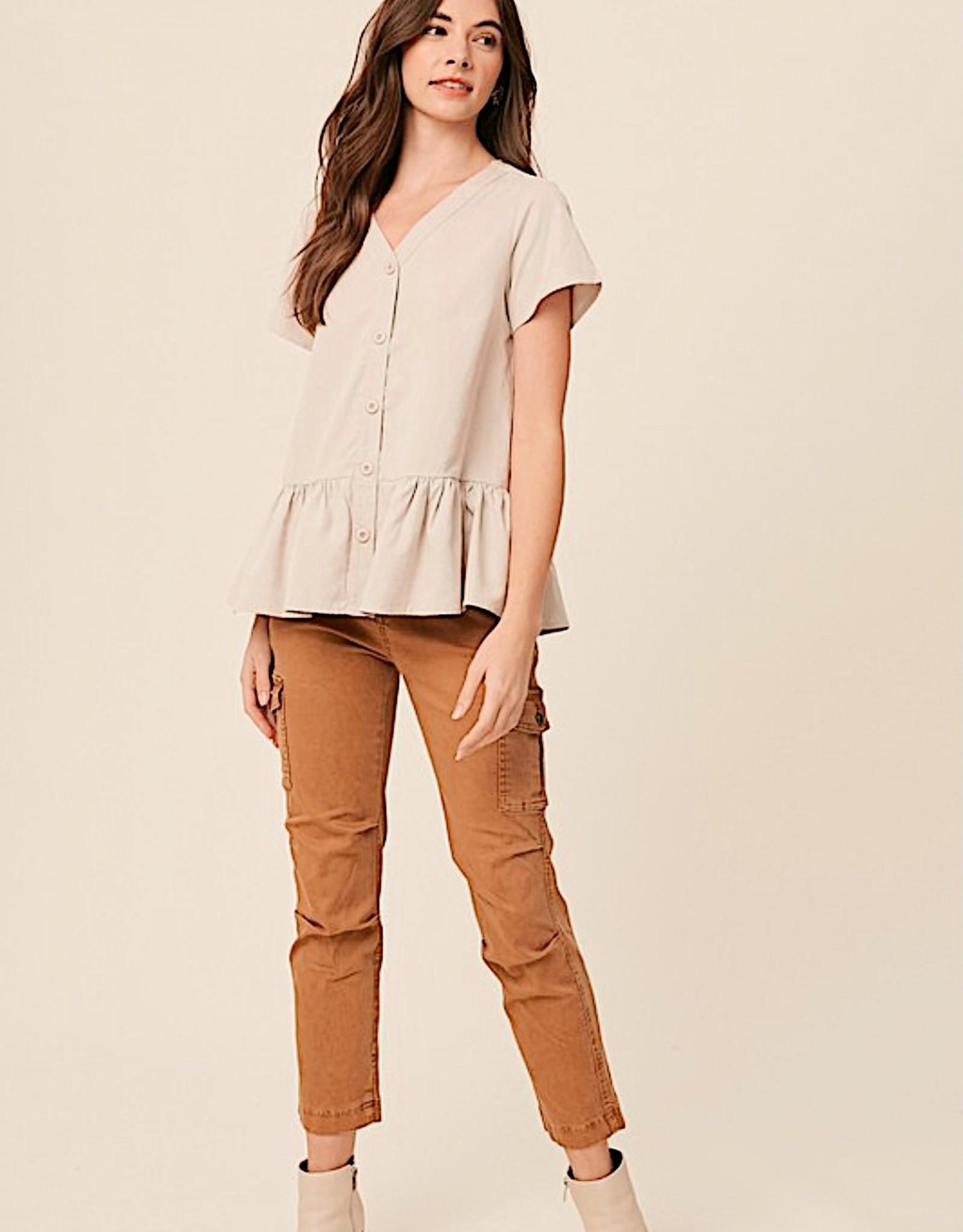 HUSH V neck button down peplum blouse