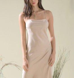 HUSH Midi length satin cowl neck slip dress