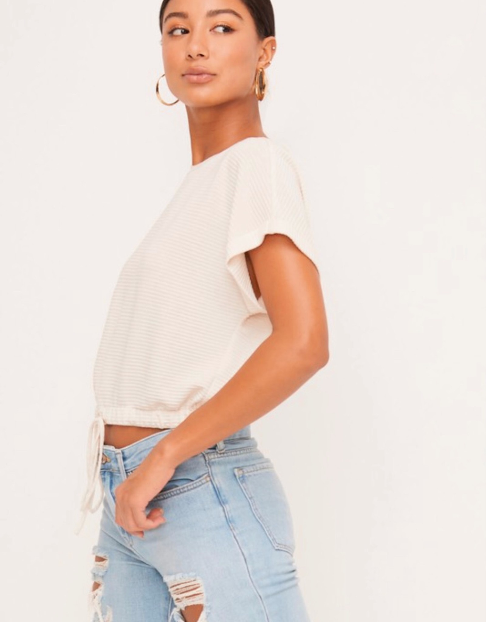 HUSH Drawstring pinstripe crop top