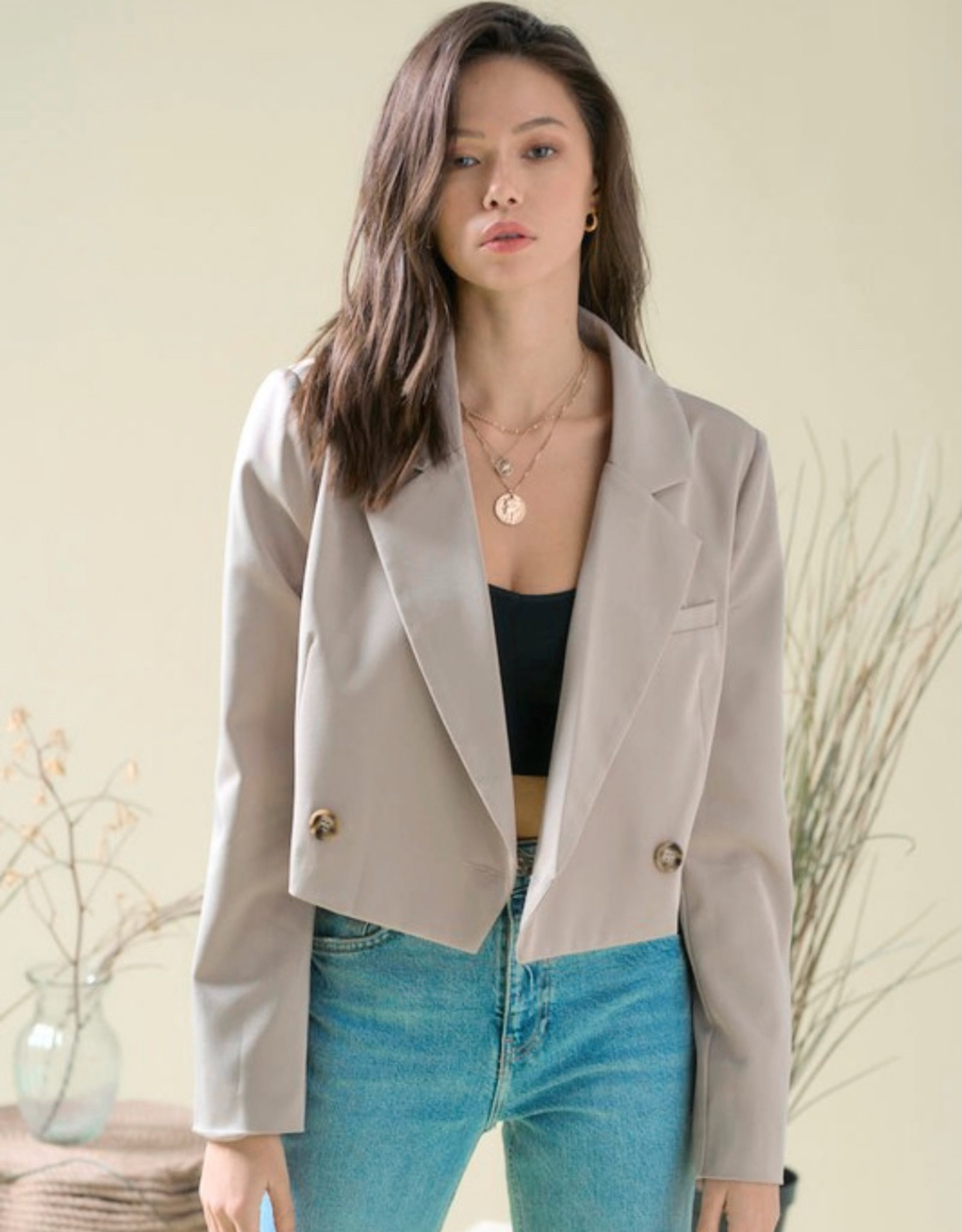 HUSH Double breasted cropped blazer