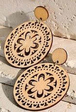 HUSH Laser cutout filigree wood earrings