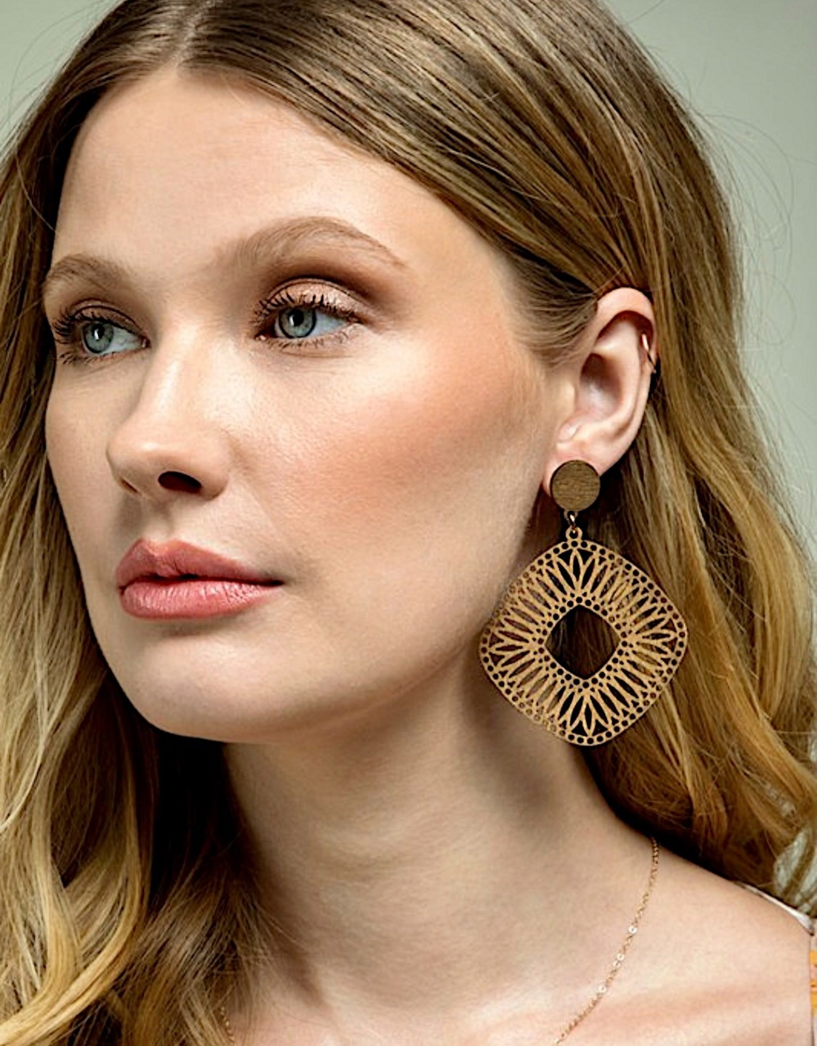 HUSH Natural wood filigree earrings