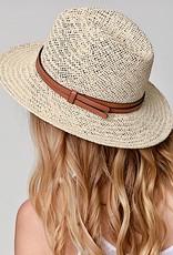 HUSH Woven panama hat w/ faux leather band