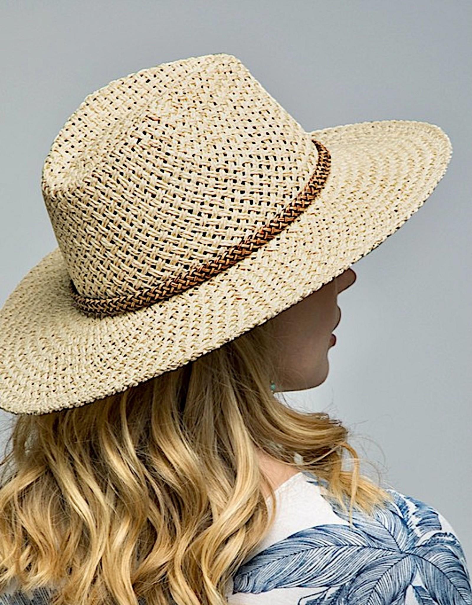 HUSH Woven panama hat w/ braid trim