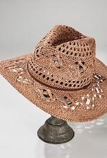 HUSH Open weave panama w/ faux leather trim